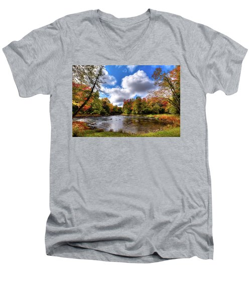 Moose River Near Scusa Road Men's V-Neck T-Shirt by David Patterson