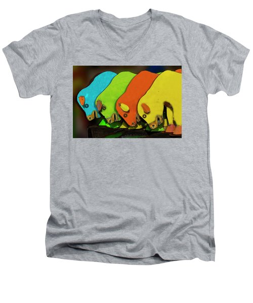 Men's V-Neck T-Shirt featuring the photograph Mooving On by Paul Wear
