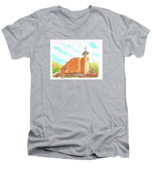 Morada De La Conquistadora Chapel, Santa Fe, New Mexico Men's V-Neck T-Shirt