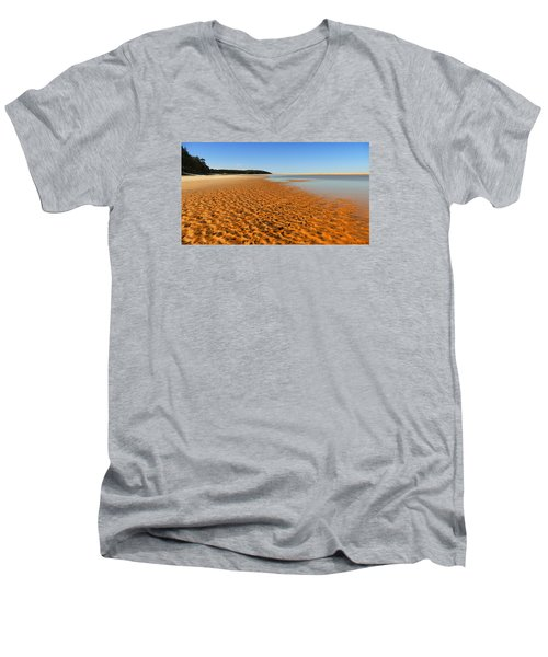 Men's V-Neck T-Shirt featuring the photograph More Sand 01 by Kevin Chippindall
