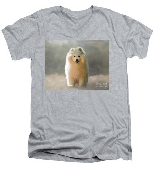 Men's V-Neck T-Shirt featuring the digital art More Snow Please by Lois Bryan