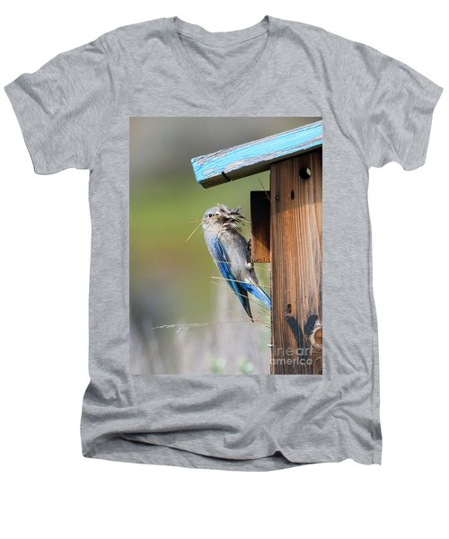 Men's V-Neck T-Shirt featuring the photograph More Than Mouthful by Mike Dawson