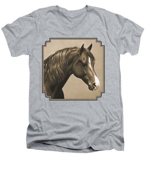 Morgan Horse Painting In Sepia Men's V-Neck T-Shirt
