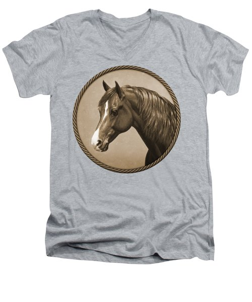 Morgan Horse Phone Case In Sepia Men's V-Neck T-Shirt