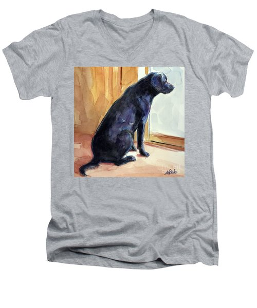 Men's V-Neck T-Shirt featuring the painting Morgan's View by Molly Poole