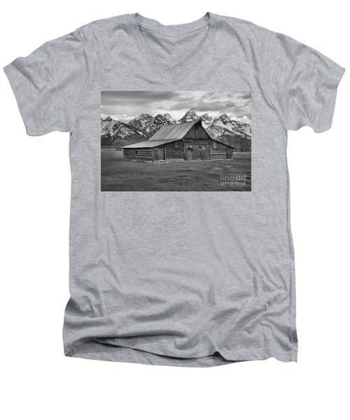 Mormon Homestead Barn Black And White Men's V-Neck T-Shirt by Adam Jewell