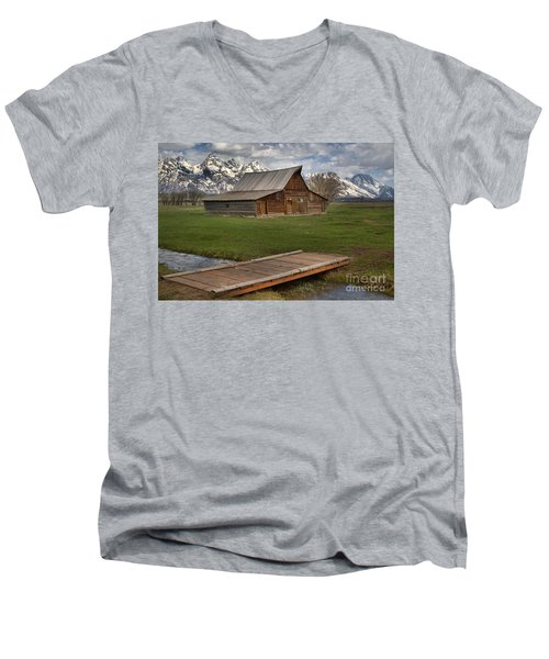 Mormon Row Water Crossing Men's V-Neck T-Shirt by Adam Jewell