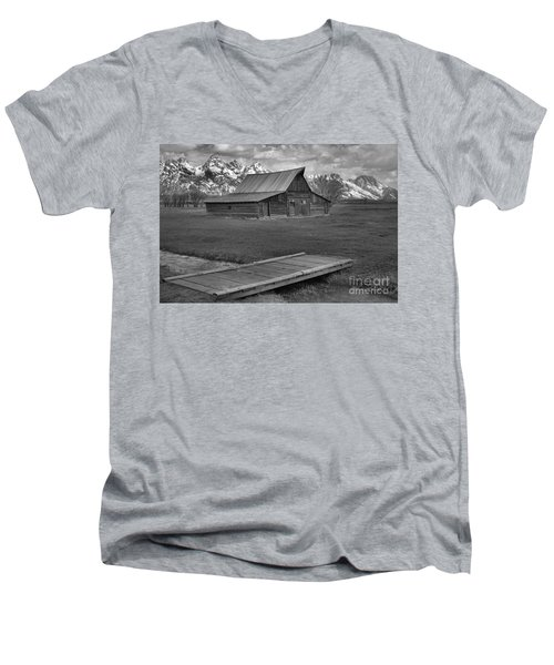 Mormon Row Water Crossing Black And White Men's V-Neck T-Shirt by Adam Jewell