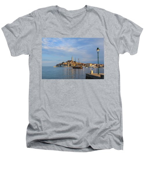 Men's V-Neck T-Shirt featuring the photograph Morning Aquarelle In Rovinj by Davorin Mance