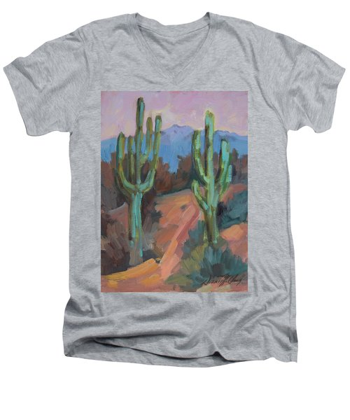 Men's V-Neck T-Shirt featuring the painting Morning At Fort Apache by Diane McClary