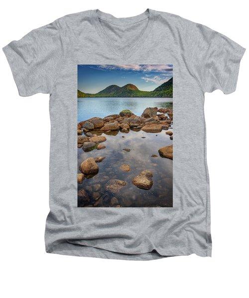 Morning At Jordan Pond Men's V-Neck T-Shirt by Rick Berk