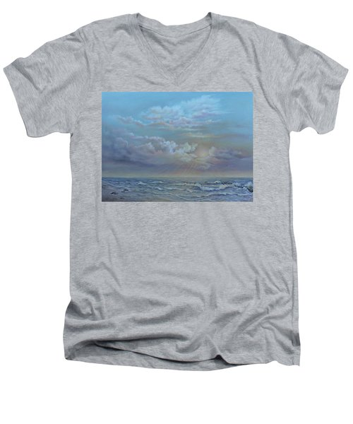 Men's V-Neck T-Shirt featuring the painting Morning At The Ocean by Luczay