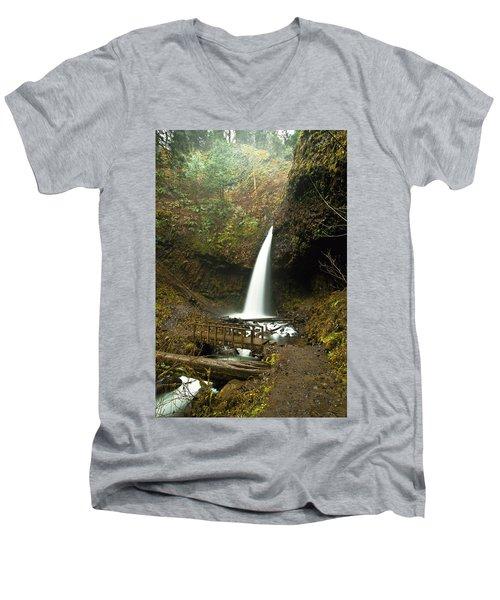 Morning At The Waterfall Men's V-Neck T-Shirt