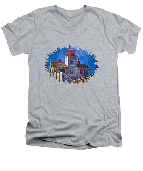 Morning At The Yaquina Bay Lighthouse Men's V-Neck T-Shirt by Thom Zehrfeld