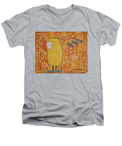 Men's V-Neck T-Shirt featuring the painting Morning Bird by Donna Howard