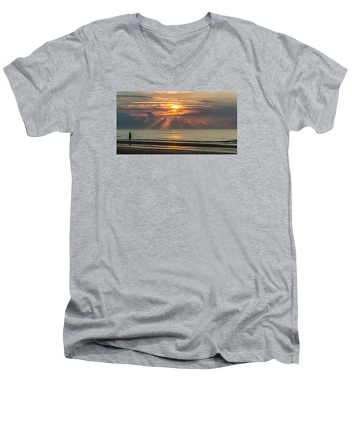 Men's V-Neck T-Shirt featuring the photograph Morning Break by Donnie Whitaker