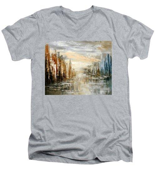 Morning By The Sea Men's V-Neck T-Shirt by Tatiana Iliina