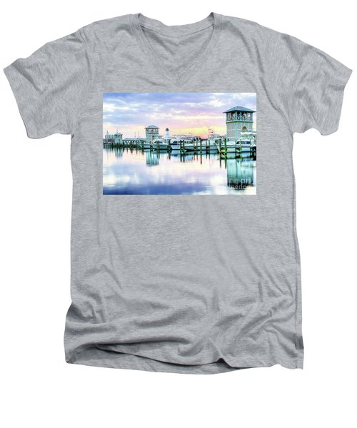 Men's V-Neck T-Shirt featuring the photograph Morning Calm by Maddalena McDonald