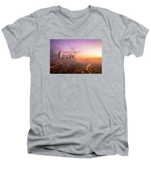 Morning Charlotte Rush Hour Men's V-Neck T-Shirt by Serge Skiba
