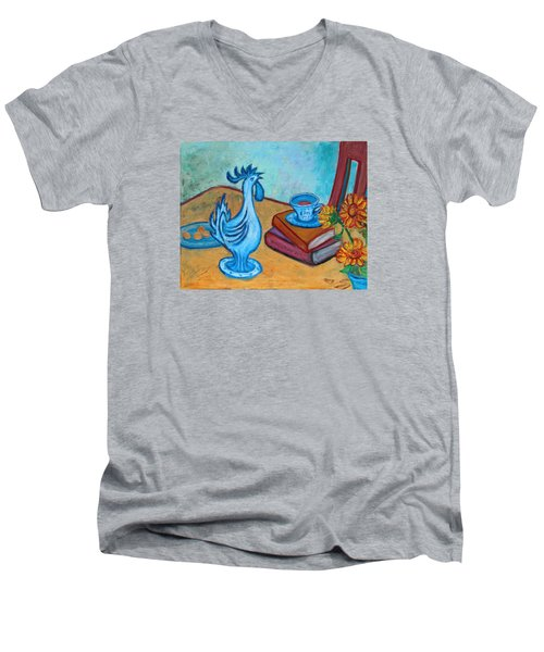 Men's V-Neck T-Shirt featuring the painting Morning Coffee Rooster by Xueling Zou
