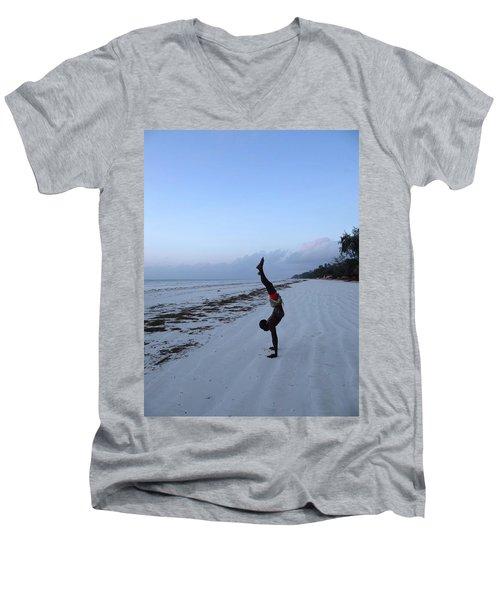 Morning Exercise On The Beach Men's V-Neck T-Shirt