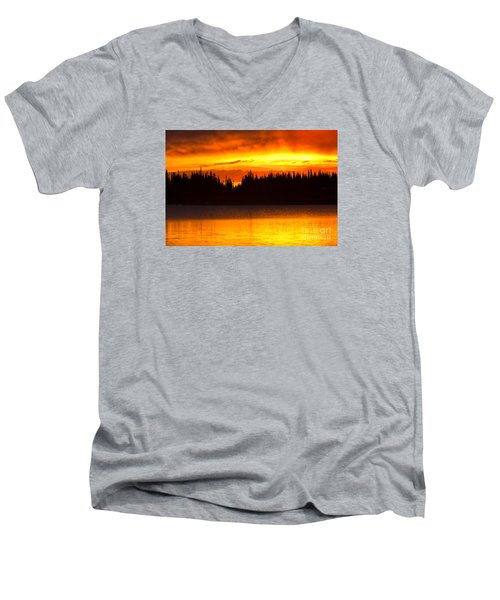 Men's V-Neck T-Shirt featuring the photograph Morning Fire by Aaron Whittemore