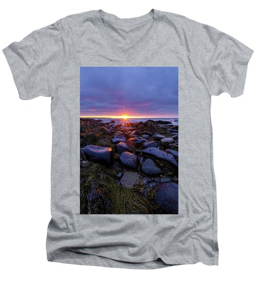 Morning Fire, Sunrise On The New Hampshire Seacoast  Men's V-Neck T-Shirt
