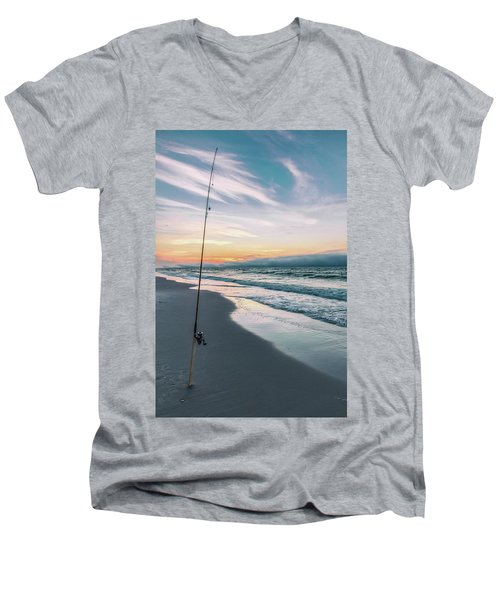 Men's V-Neck T-Shirt featuring the photograph Morning Fishing At The Beach  by John McGraw