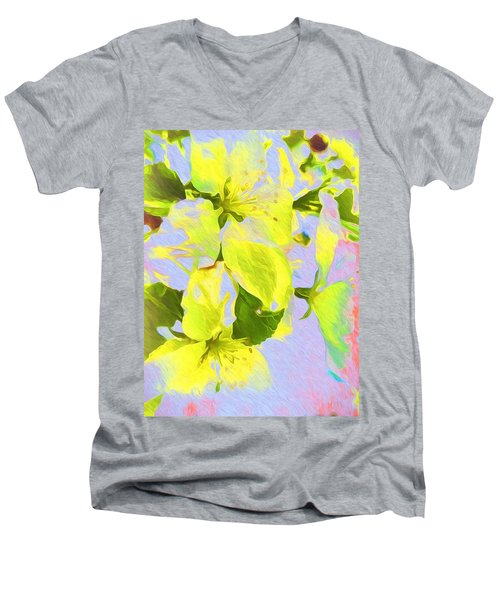 Men's V-Neck T-Shirt featuring the photograph Morning Floral by Kathy Bassett