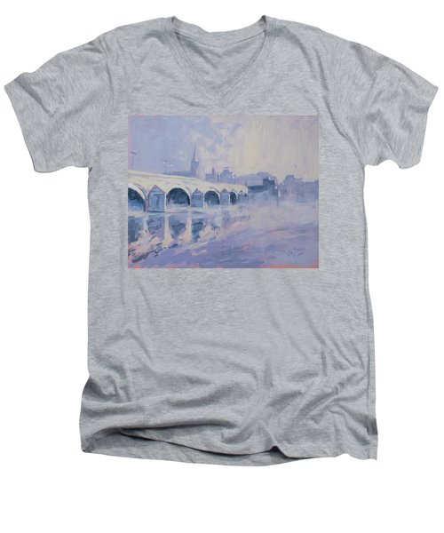 Morning Fog Around The Old Bridge Men's V-Neck T-Shirt by Nop Briex