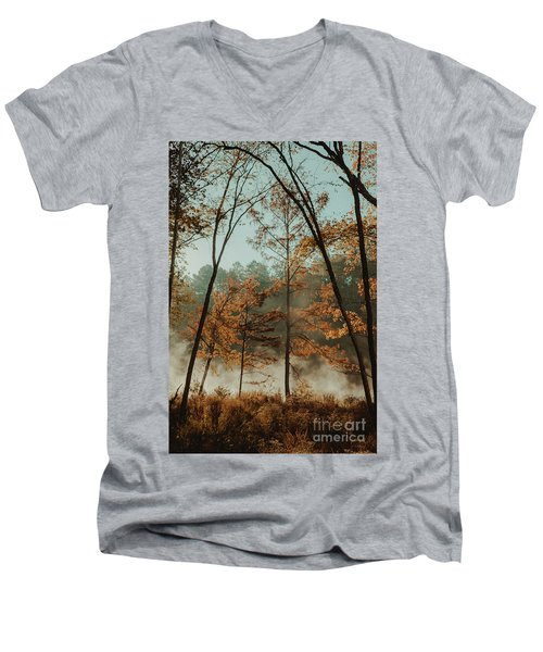 Morning Fog At The River Men's V-Neck T-Shirt by Iris Greenwell