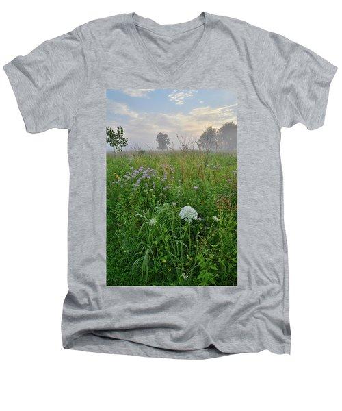 Morning Fog Over Glacial Park Prairie Men's V-Neck T-Shirt