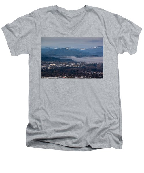 Morning Fog Over Grants Pass Men's V-Neck T-Shirt