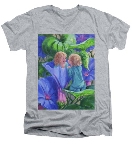 Men's V-Neck T-Shirt featuring the painting Morning Glories by Karen Ilari