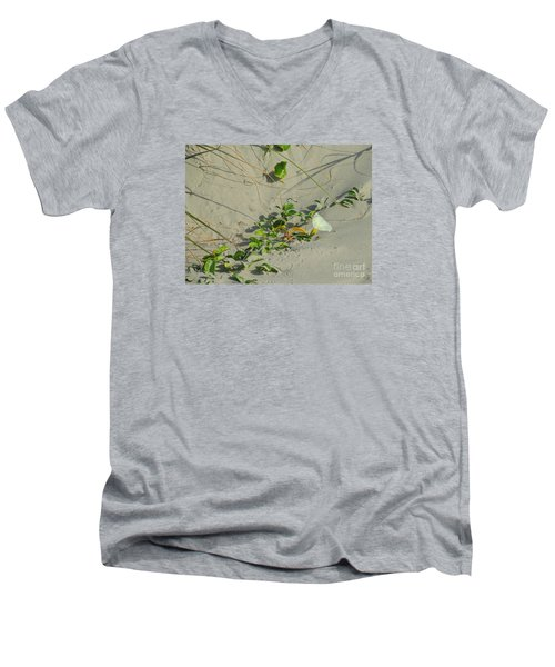 Men's V-Neck T-Shirt featuring the photograph Morning Glory At The Beach by Mim White