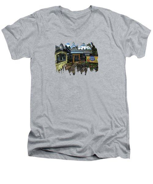 Men's V-Neck T-Shirt featuring the photograph Morning Glory Cafe Ashland by Thom Zehrfeld