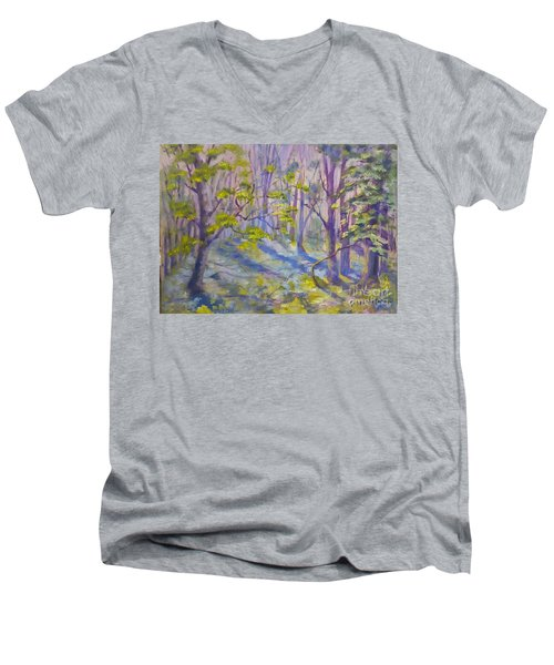 Morning Glory Men's V-Neck T-Shirt by Genevieve Brown