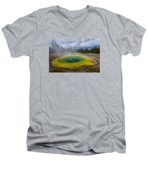 Men's V-Neck T-Shirt featuring the photograph Morning Glory Pool by Gary Lengyel