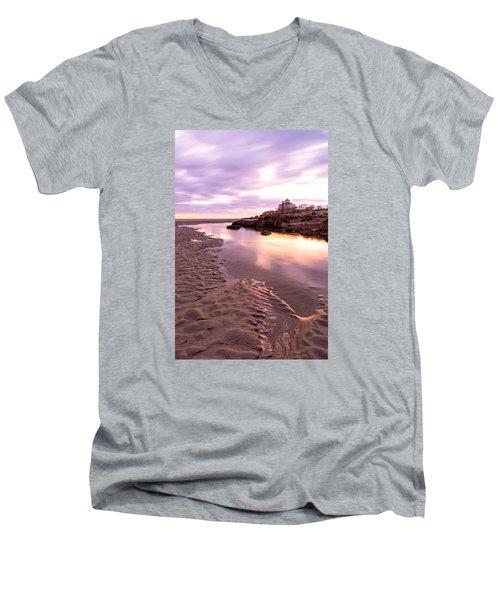 Morning Glow Good Harbor Men's V-Neck T-Shirt by Michael Hubley