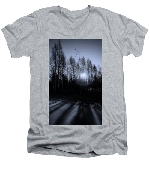 Morning Glow Men's V-Neck T-Shirt by Rose-Marie Karlsen
