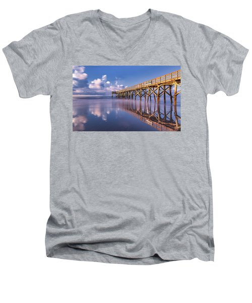 Men's V-Neck T-Shirt featuring the photograph Morning Gold - Isle Of Palms, Sc by Donnie Whitaker