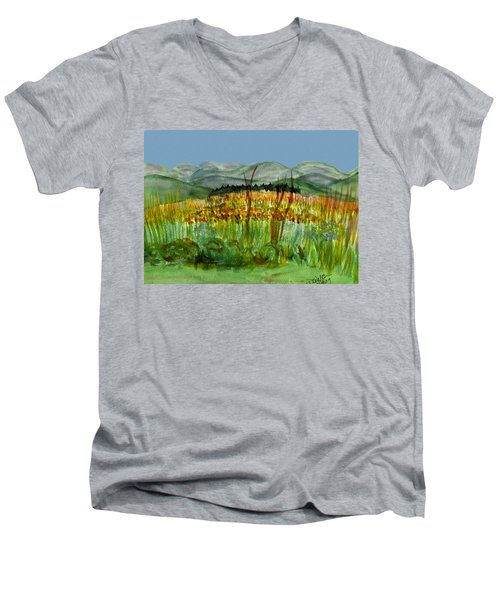 Men's V-Neck T-Shirt featuring the painting Morning In Backyard At Barton by Donna Walsh
