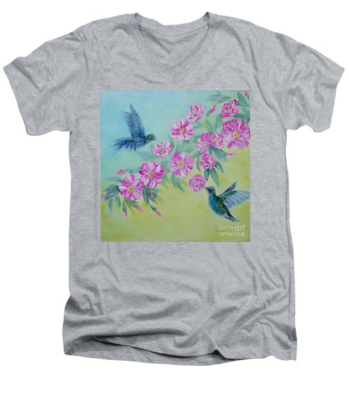 Morning In My Garden. Special Collection For Your Home Men's V-Neck T-Shirt by Oksana Semenchenko