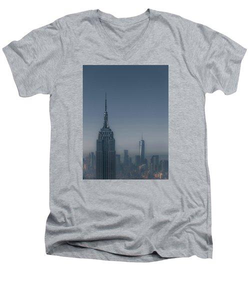 Morning In New York Men's V-Neck T-Shirt by Chris Fletcher