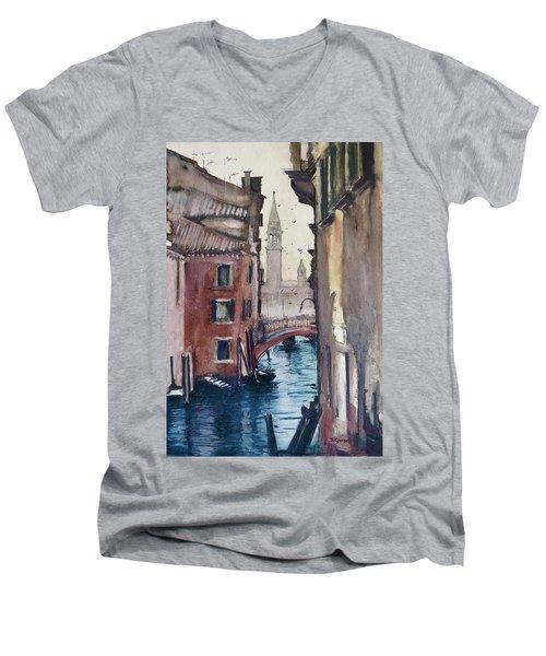 Morning In Venice Men's V-Neck T-Shirt by Geni Gorani