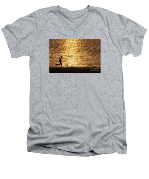 Men's V-Neck T-Shirt featuring the photograph Morning Jog by Inge Riis McDonald