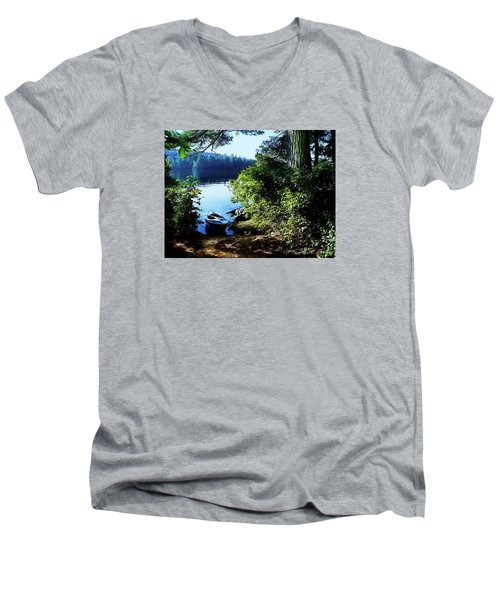 Morning Kayak Solitude Men's V-Neck T-Shirt by Joy Nichols