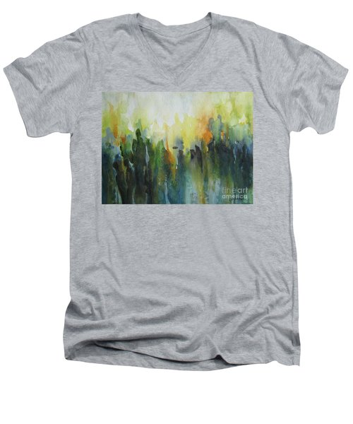 Men's V-Neck T-Shirt featuring the painting Morning Light by Elena Oleniuc
