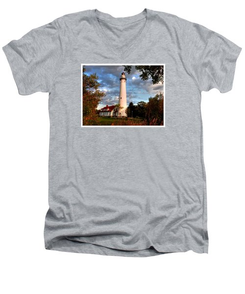 Men's V-Neck T-Shirt featuring the photograph Morning Light On The Light by Janice Adomeit