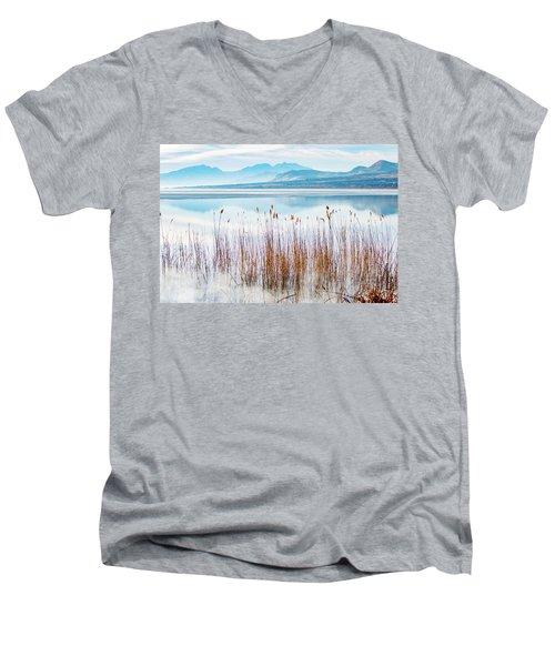 Morning Mist On The Lake Men's V-Neck T-Shirt